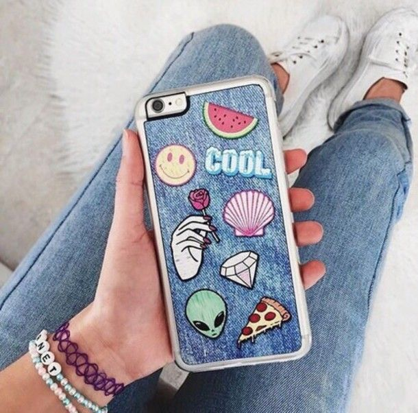 Phone cover: grunge iphone case alien fruits watermelon print smiley shell diamonds patch denim