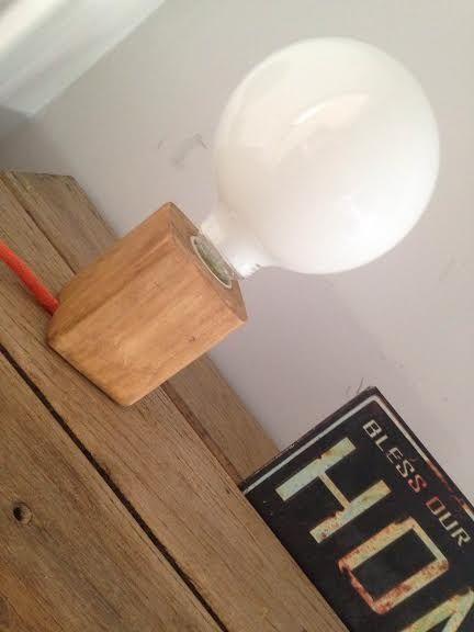 Lámpara Escritorio Velador Mesa de madera y cable textil
