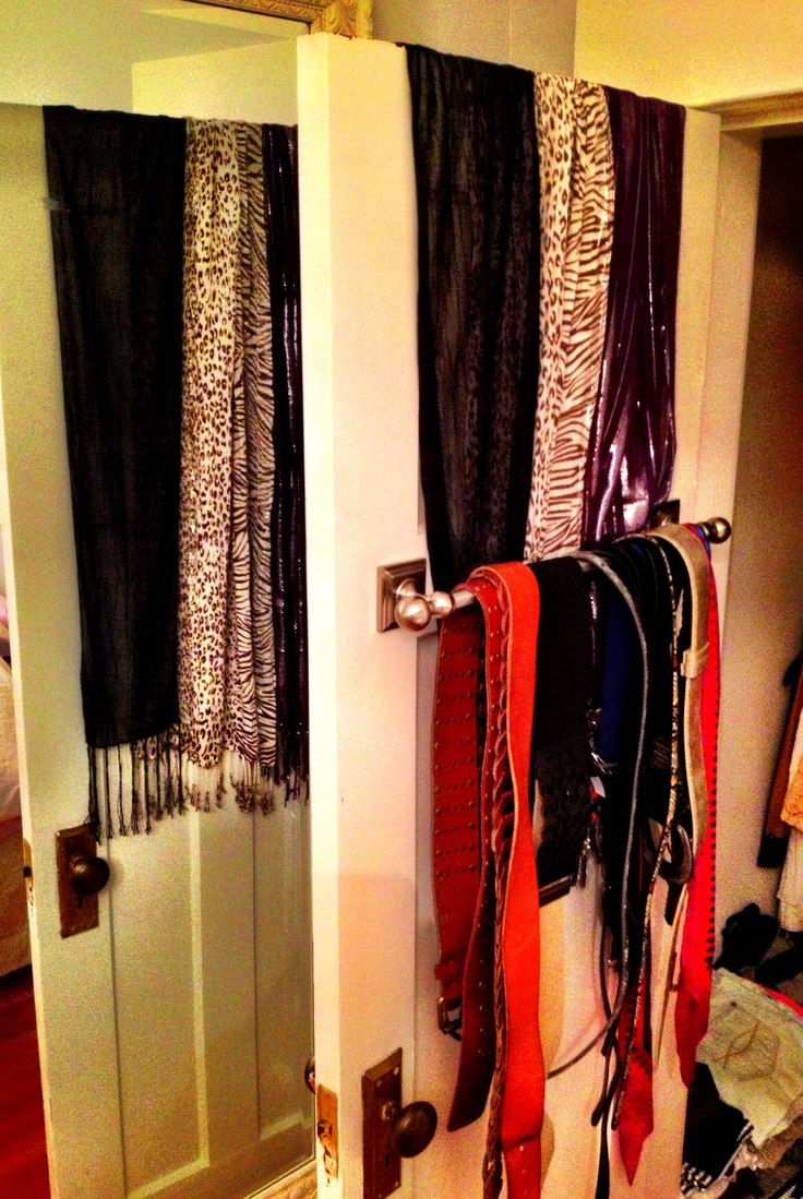 Towel rod for belts and scarves! Pretty and functional :)