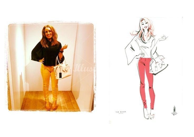 ジャクリーン·ビセットによるファッションの女性のライブペインティングのイラスト
