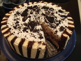 """Layered Ice Cream """" Cake"""". This is so good! and it has no cake in it. Someone saw the one I made and didn't believe I made it! I can't even believe I made it! It's so easy, all you need besides the ingredients is a springform pan, wax paper, and cooking spray. I love this recipe because there are infinite ways you can change what you use in it ~♥~ Say's the maker of this yummy Birthday Cake! Rave reviews too ;)"""
