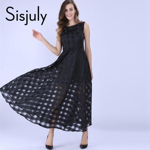 Sisjuly Maxi Summer Plaid Women Dress New Long Organza day Dress Vestidos De Festa Satin Fashion style black women dresses