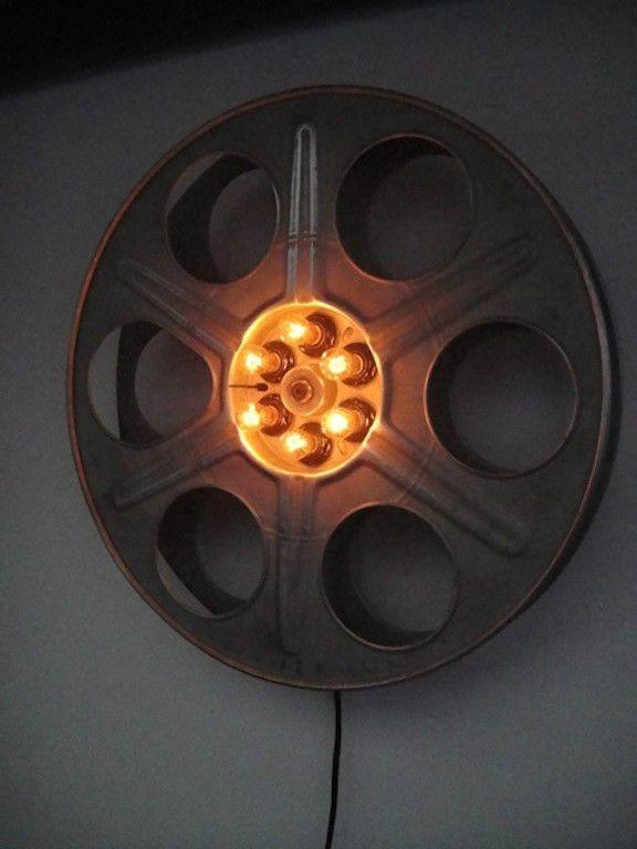 16mm Reel Movie Projectors: VTG Movie Theater Reel Light Fixtures, Pr. Repurposed