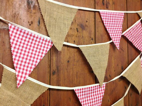 Hessian & Gingham  Bunting Banner Rustic Hessian Natural Burlap and Red Gingham, ideal for traditional weddings, festivals, garden party