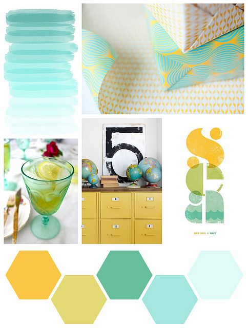 "by the sea final | Flickr - Photo Sharing!Great, fresh colourway! Love the lightest seafoam as a main, with bits of golden sunshine and the darker teal... with natural ""driftwood"" shelving maybe?"