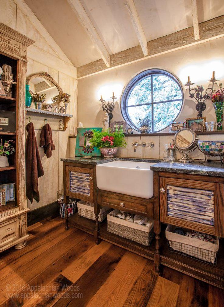 Antique Barnboard Oak Flooring Rustic Bathroom DesignsBathroom Interior