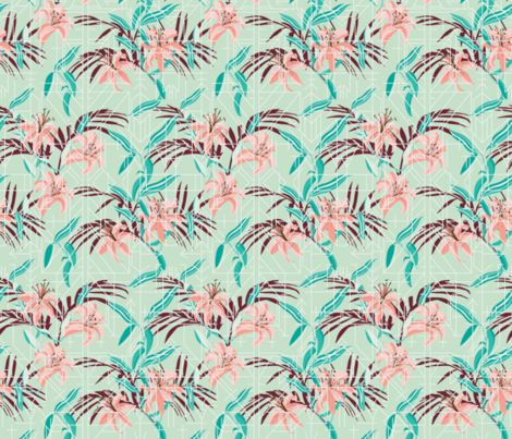 tigerlily_geofloral fabric by holli_zollinger on Spoonflower - custom fabric