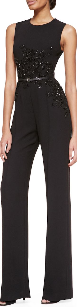 Elie Saab Sleeveless Embellished Jumpsuit in Black