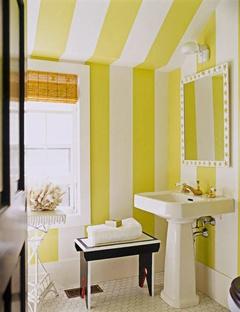 Bold Yellow stripes: Bathroom Design, Bathroom Interior, Yellow Stripes, Stripes Bathroom, Stripes Wall, Bold Stripes, Yellow Bathroom, Powder Rooms, Design Bathroom