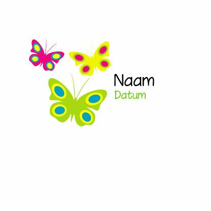 vrolijke vlinders - Geboortekaartjes - Kaartje2go