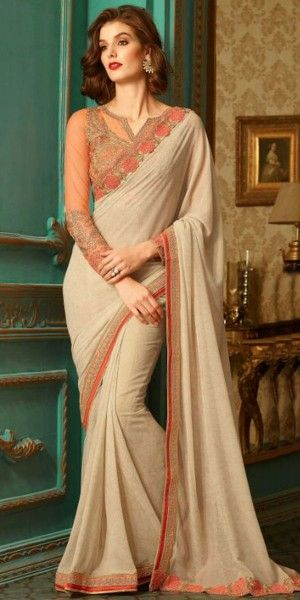 Striking Cream And Orange Georgette Saree With Blouse.