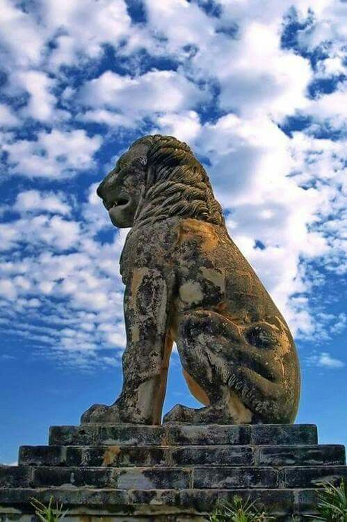 Lion of Amphipolis, Macedonia, Greece.