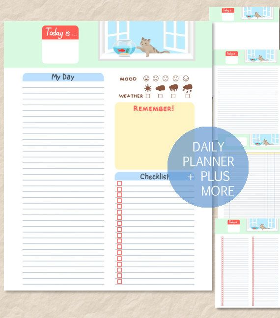 Printable Cute Cat Daily Planner, Cute Cat Goldfish ...