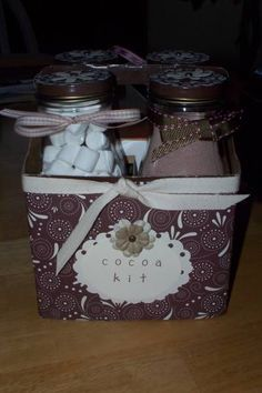 Hot cocoa kit made from recycled Starbucks bottles & box