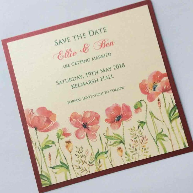 Red Poppies Save the Date Cards