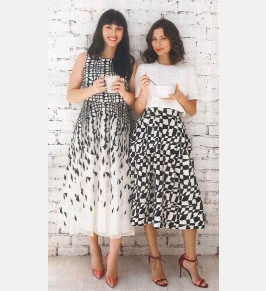 Hello! magazine featured the Hemsley and Hemsley duo this week. Melissa and Jasmine wore two pieces from the collection. The 50s Monochrome Graphic Skirt and the Adored Hearts Tea Dress 2015..x