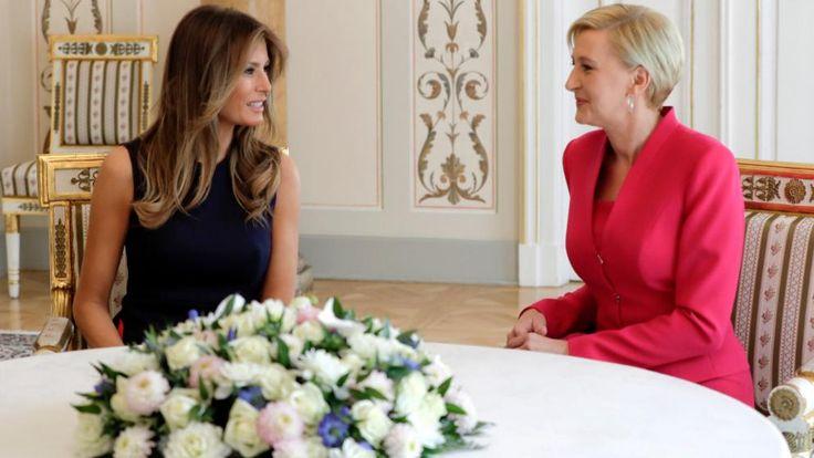 Melania Trump (47) im Gespräch mit Agata Kornhauser-Duda (45), Ehefrau von Polens Präsident Andrzej Duda