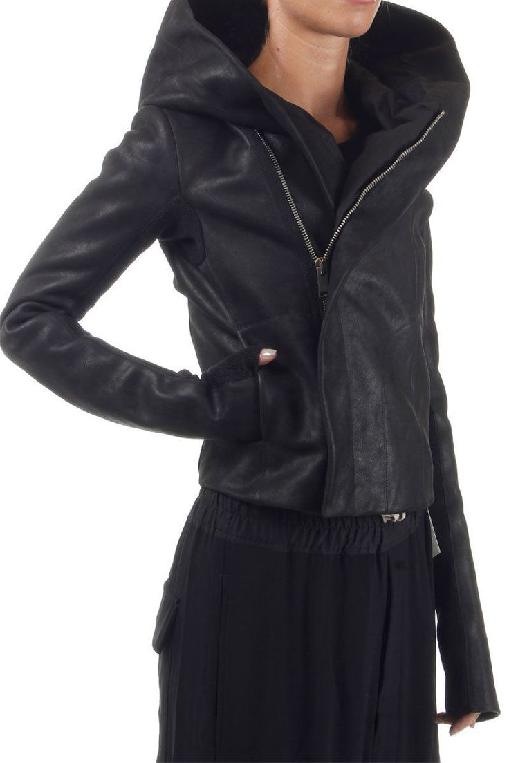 RICK OWENS Women Calfskin Jacket HOODED BIKER Black 2 Pockets Original | eBay