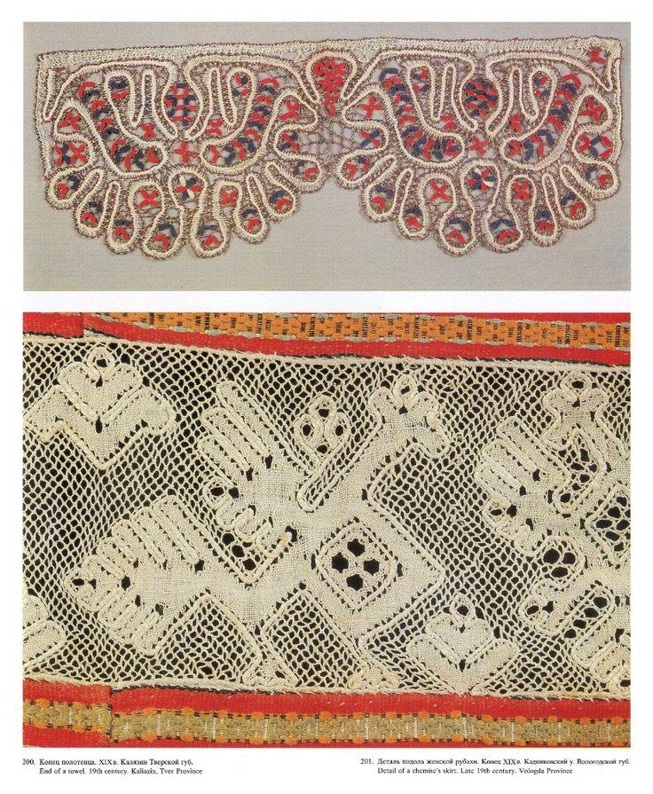 Конец полотенца  19 в  Тверская губ. Деталь подзора женской рубахи  конец 19 Вологодская губ