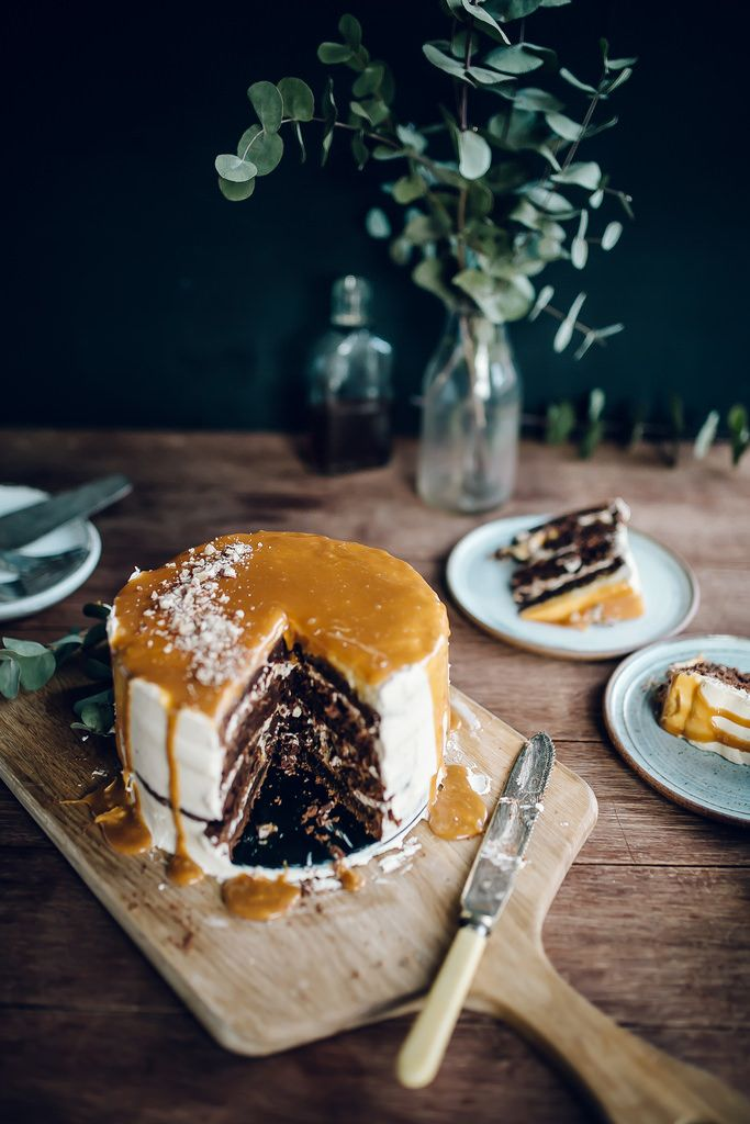 Chocolate Whiskey Cake with Salted Caramel Buttercream | YES. This is literally whisky in chocolate cake form, and completely veganisable: just sub flax eggs for eggs and use margarine instead of butter.