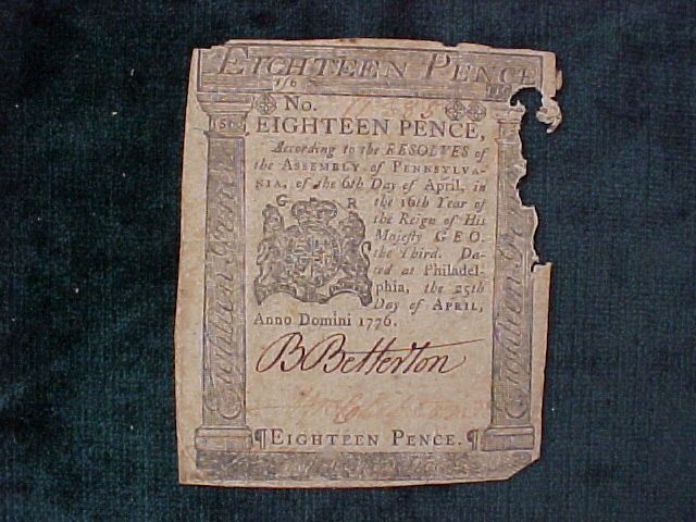 American Colonial Continental Currency, #997 Eighteen Pence Denomination