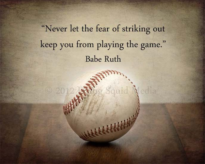 "10x8 Baseball photo print ""Never let the fear of striking out..."" - Customizable Quote - Baseball Art - Boys Bedroom Art. $20.00, via Etsy."