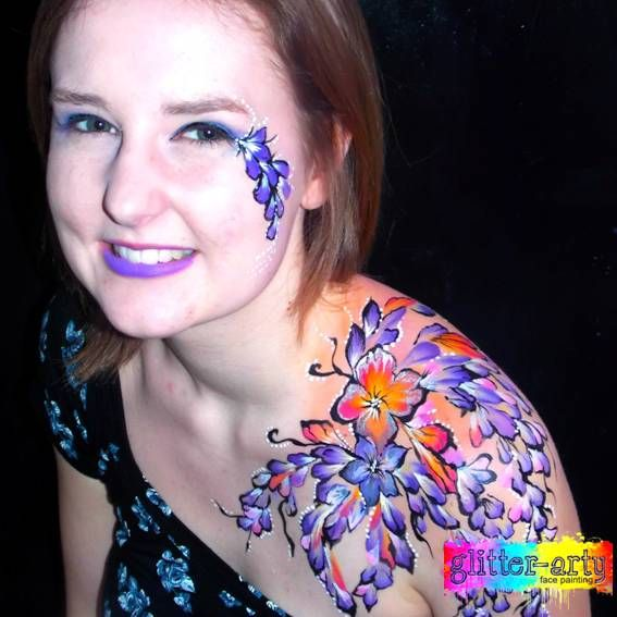 Adult face & Body art for club nights, hen nights by Glitter-Arty Face Painting, Bedford, Bedfordshire