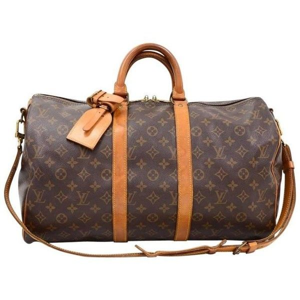 Preowned Vintage Louis Vuitton Keepall 45 Bandouliere Monogram Canvas... (2,245 SAR) ❤ liked on Polyvore featuring bags, luggage, brown and duffel bags