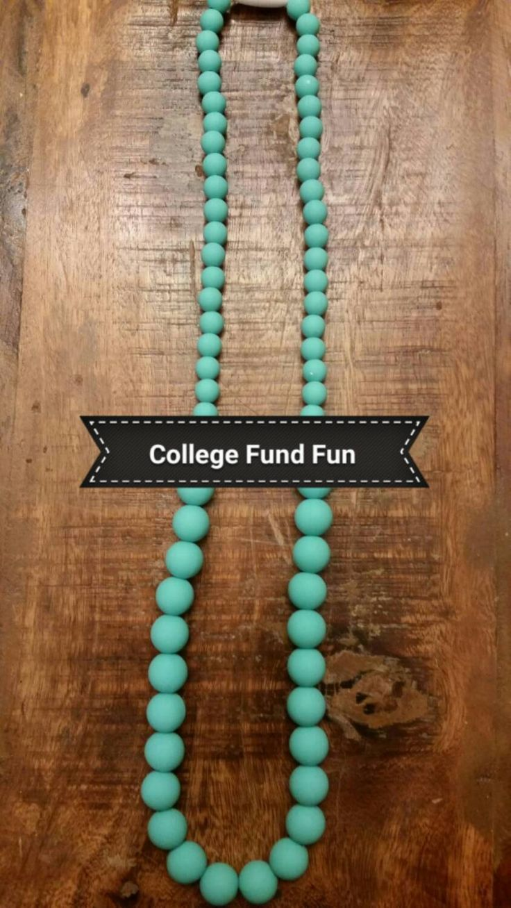 Teething necklace for mom or caregiver. Give your baby something elegant for those sore gums. Silicone beads, BPA free, food safe. by CollegeFundFun on Etsy