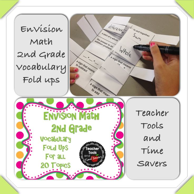 EnVision Math 2nd Grade Vocabulary Fold ups for all 20 Topics  Your second grade students will love these fun foldable vocabulary activities that correlate to each theme of EnVision Math!  **Download Topic 1 FREE in Preview!**