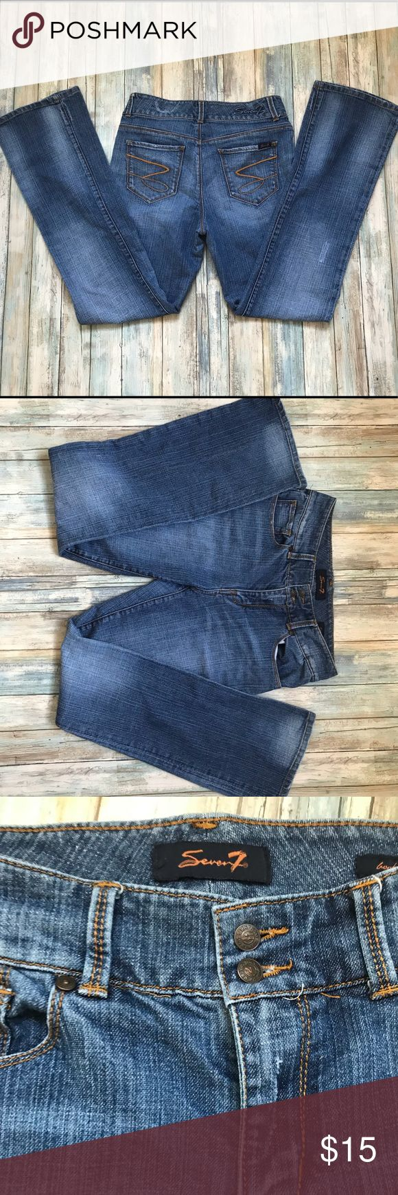 "Seven7 Jeans Seven7 Jeans in excellent used condition minus some wear in the belt area (a belt would hide it) the jeans have a naturally trendy worn look and no signs of wear in the thigh area. Inseam: 31"" Seven7 Jeans"