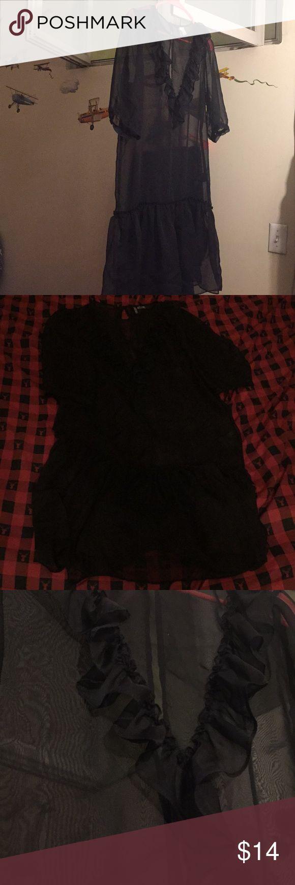H&M Black see thru dress see thru dress from H&M. Nice and super cute H&M Dresses Midi