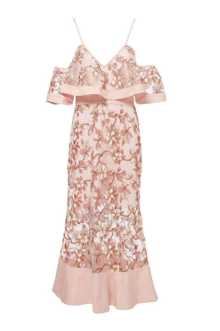 Alice Mccall | Crystallized Off-The-Shoulder Dress | WedLuxe Magazine | #wedding #luxury #weddinginspiration #bridalshower #dress #bridetobe #style