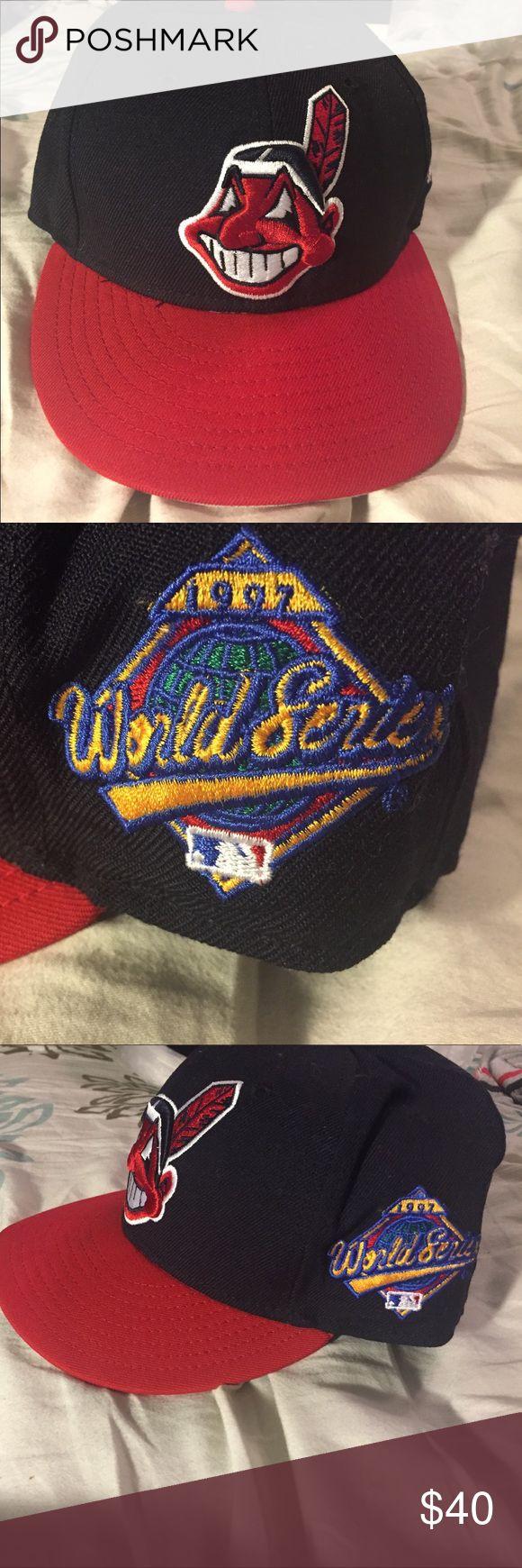 New Era Vintage Baseball Cap New Era 59Fifty fitted Cleveland Indians Baseball Cap 1997 World Series New Era Accessories Hats