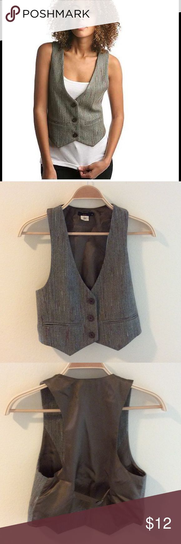 """Lux menswear vest XS Button Up suit vest Worn & dry cleaned a couple times, but still looks great. No snags, stains, holes etc. Just called their """"Menswear"""" vest, but it's a women's vest. Smoke free home. Hangers listed in another ad. Lux Jackets & Coats Vests"""