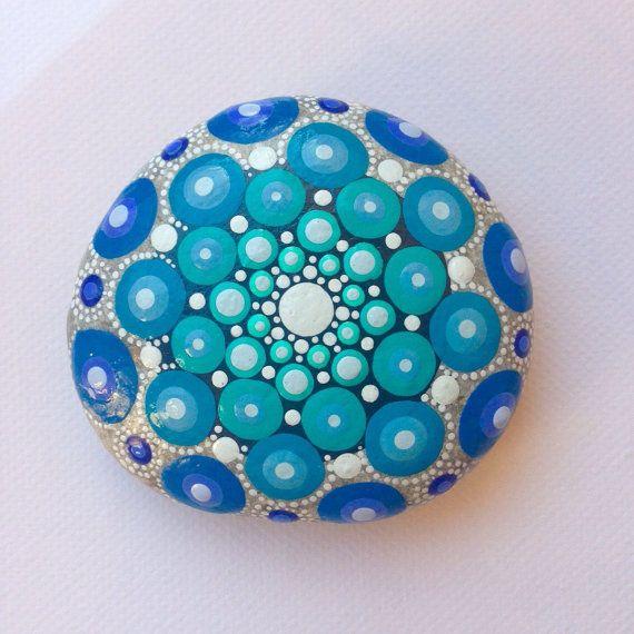 Dot Art Mandala Painted Stone Blue Gift Decoration Painted rock Beachstone