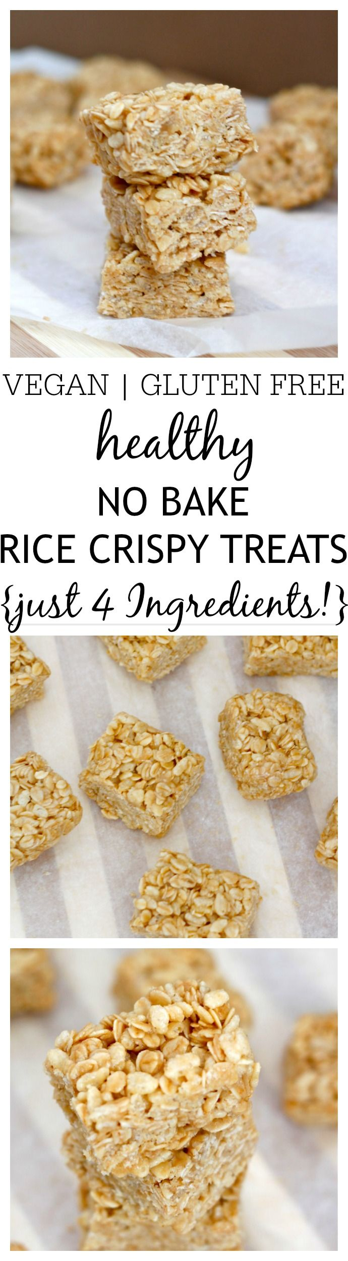 Healthy Four Ingredient No Bake Rice Crispy Treats- Just four healthy ingredients, 1 bowl and 10 minutes is needed to whip up these simple No Bake Rice Crispy Treats! Vegan, gluten free, refined sugar free and dairy free, it's the perfect snack between meals! @thebigmansworld - thebigmansworld.com