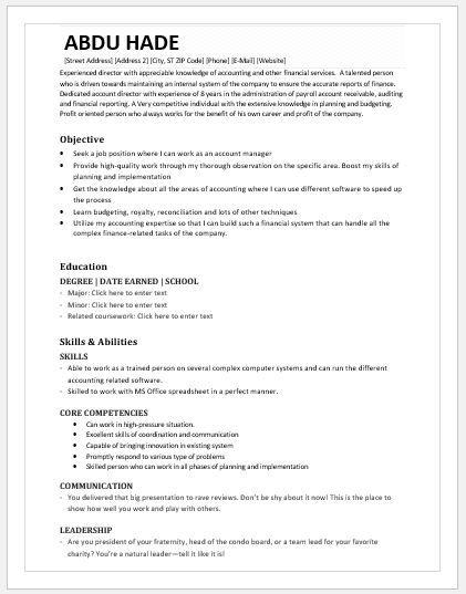 Accounting Director Resume DOWNLOAD at   writeresume2org