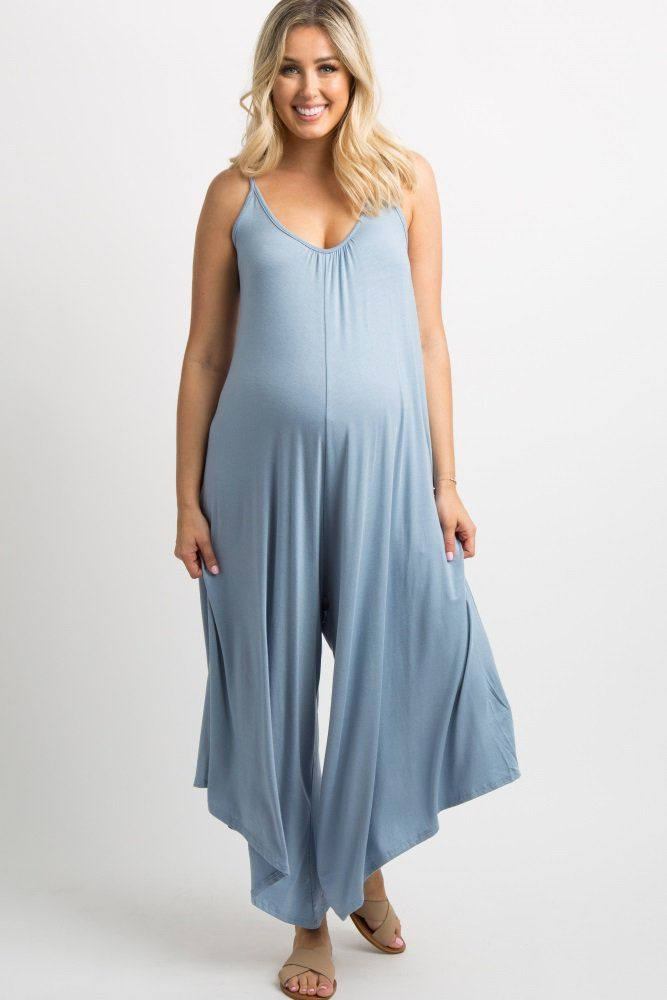 1082c41c6548 Light Blue Solid Wide Leg Jumpsuit A solid maternity jumpsuit featuring a  cami strap
