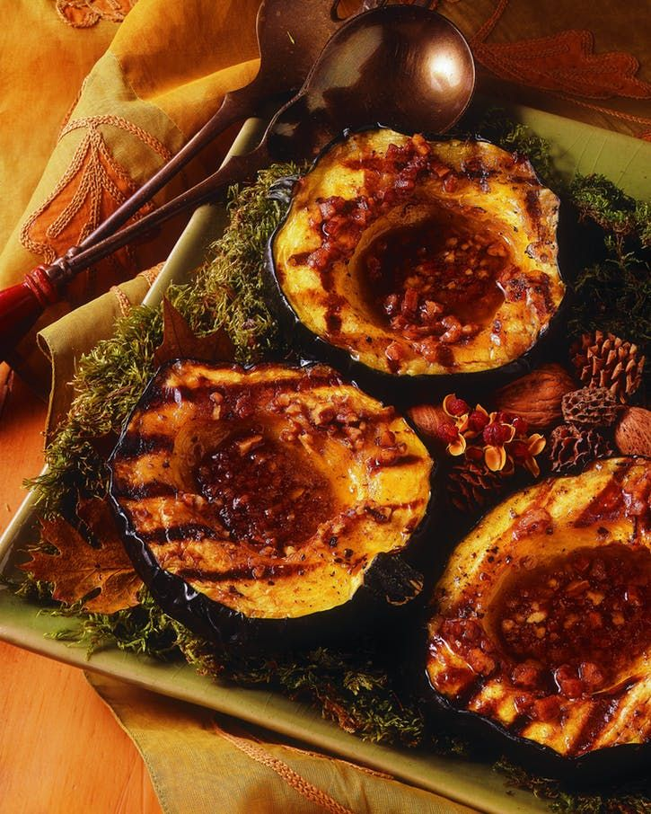 Acorn Squash With Spiced Pecan Butter Recipe Acorn Squash Recipes Acorn Squash Cooking On The Grill