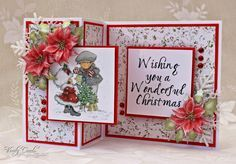 Christmas card using LOTV image, poinsettias from BeBunni CD from Crafter's Companion, papers from nitwits. Made by Liz Walker.