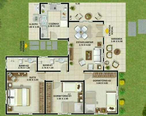 Tres habitaciones planos planos de casa pinterest for Casas de tres recamaras