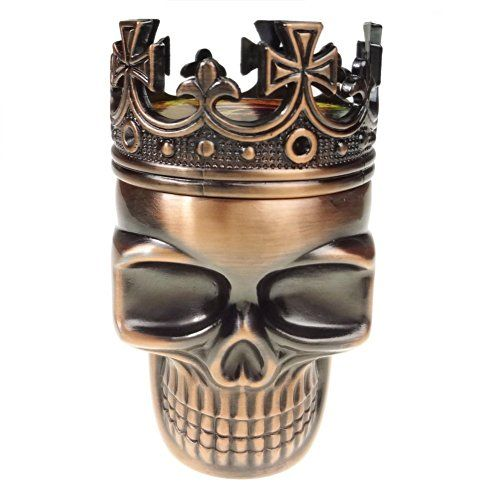 Authentic LIHAO Herb Spice Weed Tobacco Grinder Crown Skull - Red Bronze, ,