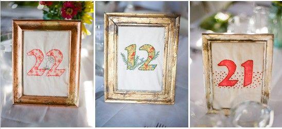 numéro de table mariage en tissus