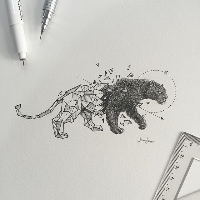 Line Drawing Animal Tattoos : Geometric beasts black panther kerby rosanes