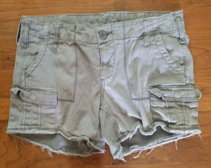 Faded Glory Women's Shory Shorts Size 4 Gray Cargo Pockets Stretch Waist 30 #FadedGlory #CasualShorts
