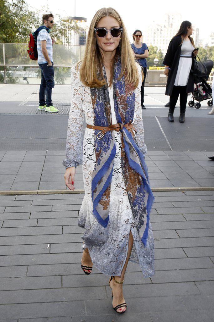 Hack: Add extra dimension to your simple white dress by adding a long silk scarf and a leather belt.       ...