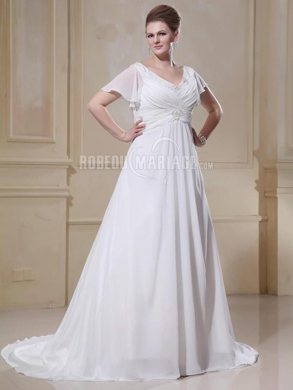 Ruches au dos robe de mariée en satin ornée de perles et de paillettes avec un col en V [#ROBE2013063] - robedumariage.com