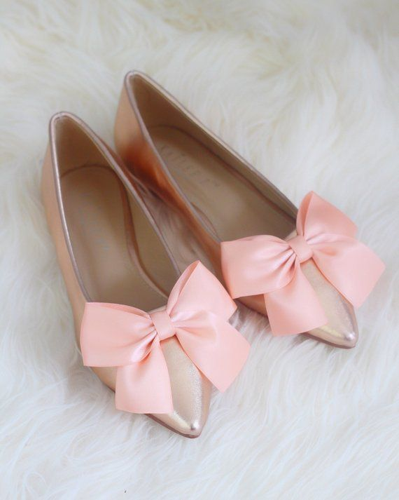 1702b2fd035a ROSE GOLD Metallic Pointy toe flats with satin BOW Women Wedding Shoes