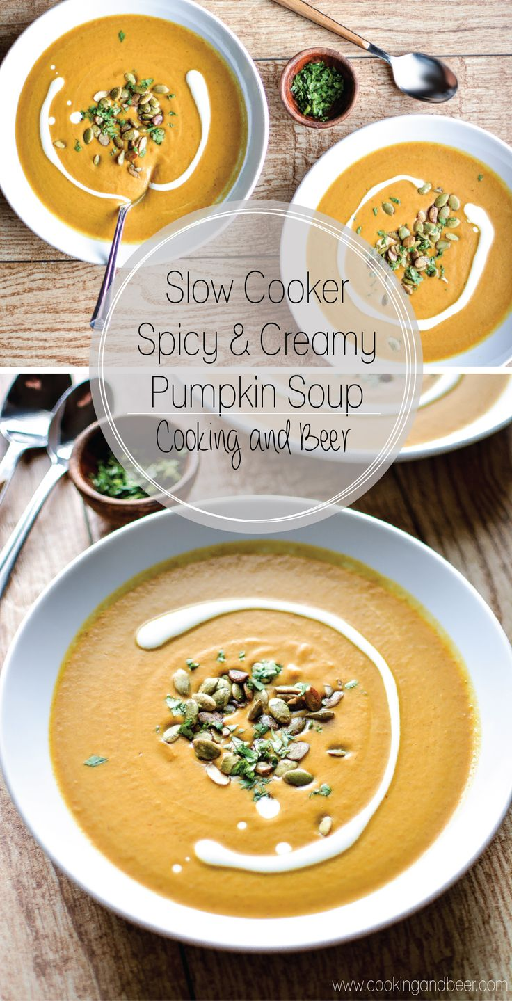 Serve this Slow Cooker Spicy and Creamy Pumpkin Soup this autumn! It's creamy, healthy, spicy...and with a dash of curry, is taken it to a whole new level!